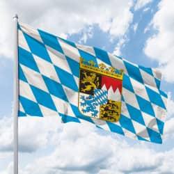Bayern-Flagge mit Wappen (Raute)