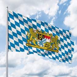 Bayern-Flagge mit Löwen-Wappen (Raute)