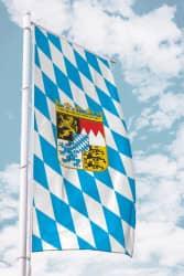 Bayernfahne für Ausleger mit Wappen (Raute)