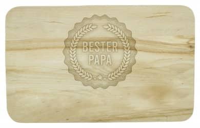 Frühstücksbrettchen mit Bester-Papa-Siegel und Namen