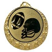 "Football Medaille ""Brixia"" Ø 32mm mit Wunschemblem und Band gold"