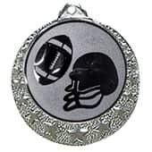 "Football Medaille ""Brixia"" Ø 32mm mit Wunschemblem und Band silber"