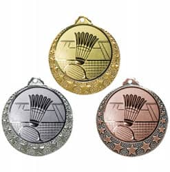 """Badminton Medaille """"Brixia"""" Ø 32mm mit Wunschemblem und Band"""