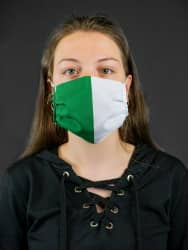 Maske Grün-Weiß aus Polyester