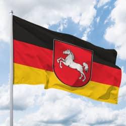 Niedersachsen-Hissflagge Quer mit Wappen