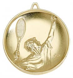 "Medaille ""Tennis"" Ø 65mm gold mit Band"