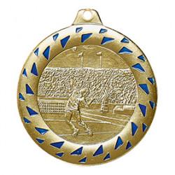 """SALE: Medaille """"Tennis"""" Ø 50mm gold/blau mit Band"""