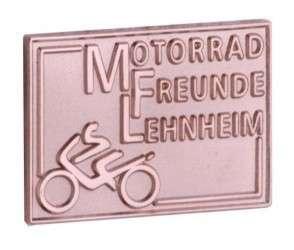 """Pins sandgestrahlt """"Motorrad"""""""
