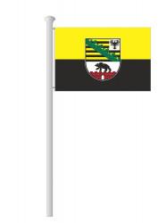 Sachsen-Anhalt-Hissflagge Quer mit Wappen