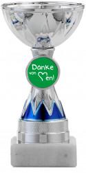 Danke Pokale 3er Serie S1213 silber/blau 11 cm