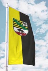 Sachsen-Anhalt-Fahne-Ausleger Hochformat mit Wappen