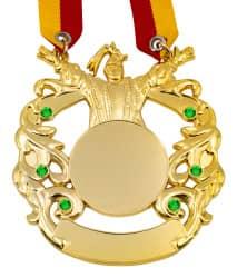 """Karnevalsorden """"Prinz"""" gold grüne Schmucksteine"""