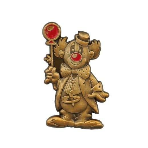 Clown mit Ballon 3D geprägt altgold