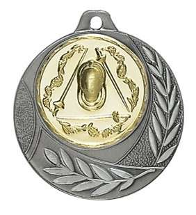 """Medaille """"Arezzo"""" Ø 40mm mit Wunschemblem und Band silber"""