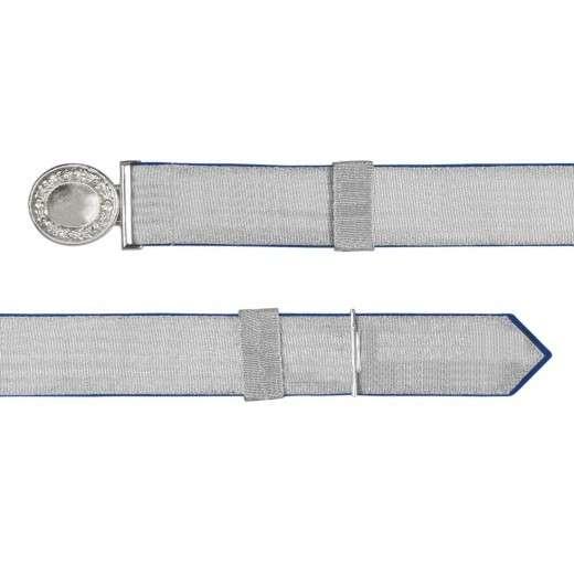 Feldbinde mit silberner Tresse blau | 80-100cm | ohne Schützenemblem