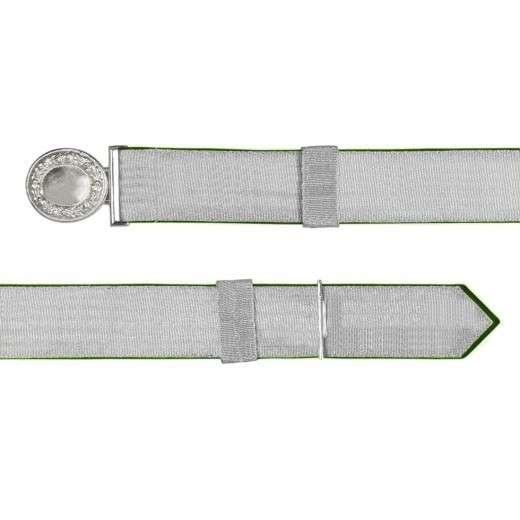 Feldbinde mit silberner Tresse grün | 80-100cm | ohne Schützenemblem