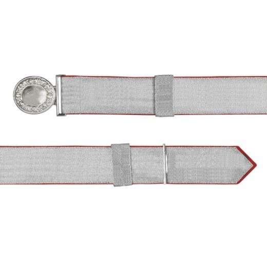 Feldbinde mit silberner Tresse rot | 80-100cm | ohne Schützenemblem