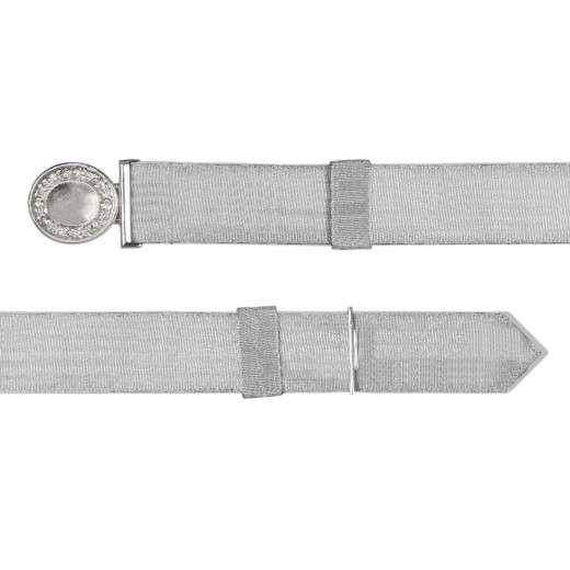 Feldbinde mit silberner Tresse weiß   80-100cm   ohne Schützenemblem