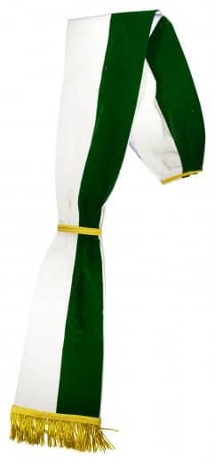 28914g Samtschaerpe Dunkelgruen Schärpen / Bandoliere Schärpe grün-weiß aus Samt