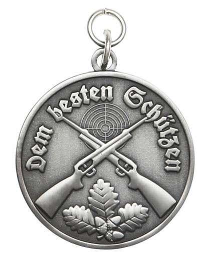Medaille - Dem besten Schützen altsilber