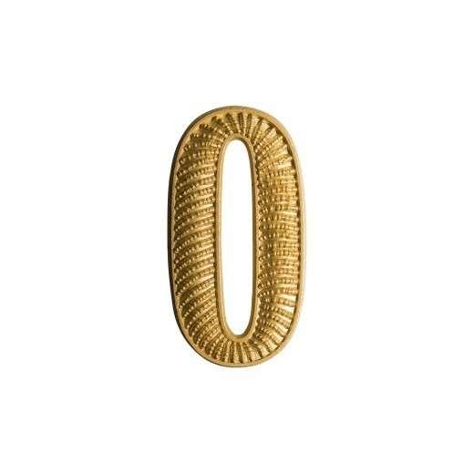 """Zahl """" 0 """" für Schulterklappe vergoldet"""