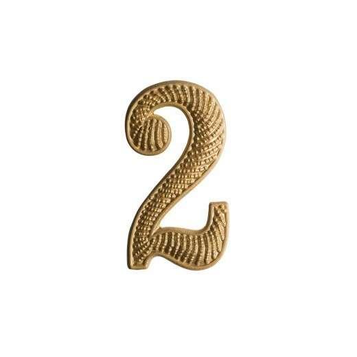 """Zahl """" 2 """" für Schulterklappe vergoldet"""