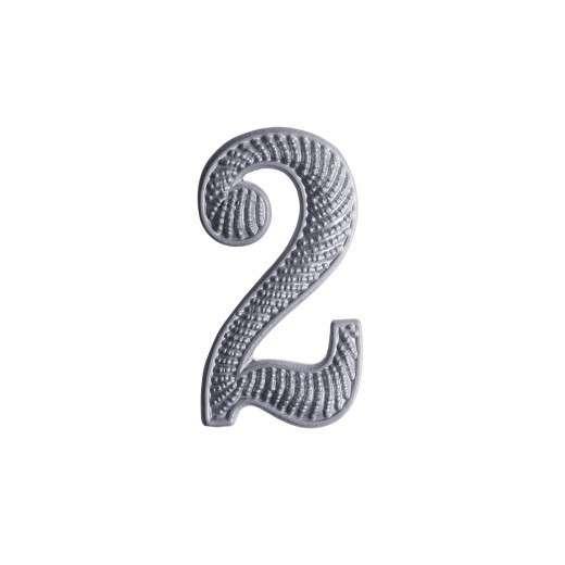 """Zahl """" 2 """" für Schulterklappe versilbert"""