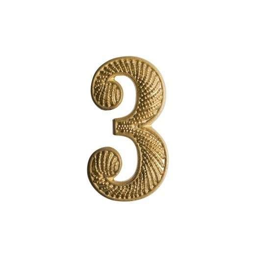 """Zahl """" 3 """" für Schulterklappe vergoldet"""
