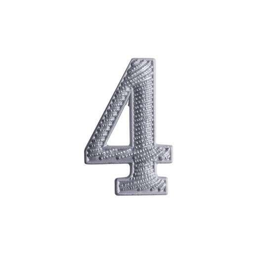 """Zahl """" 4 """" für Schulterklappe versilbert"""