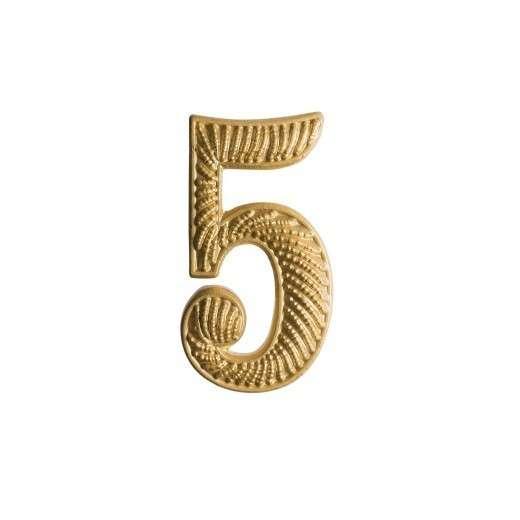 """Zahl """" 5 """" für Schulterklappe vergoldet"""