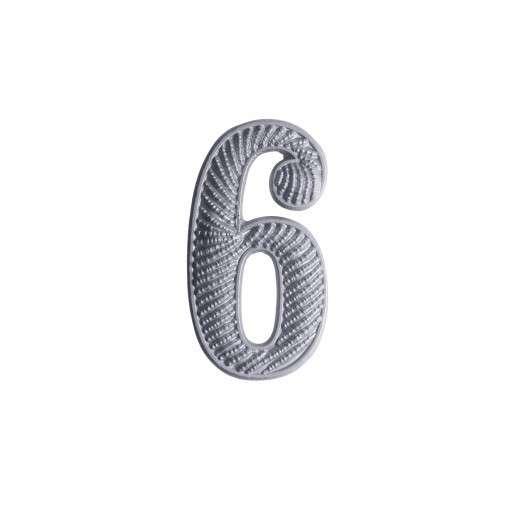 """Zahl """" 6 """" für Schulterklappe versilbert"""