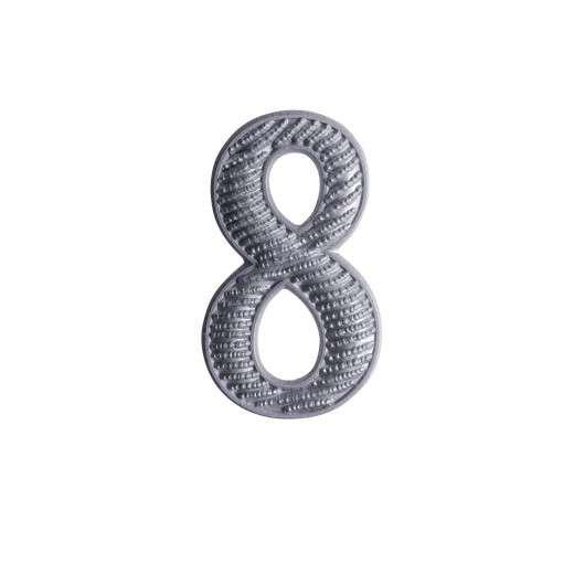 """Zahl """" 8 """" für Schulterklappe versilbert"""