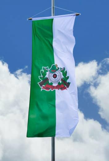Schützenfahne mit Schützenlogo - Bannerfahne grün-weiß 120x300cm