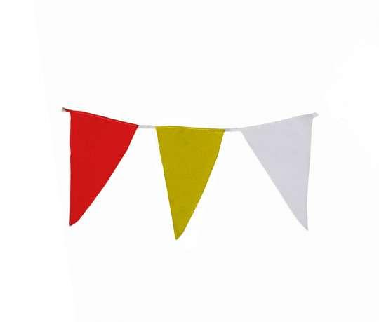Wimpelkette rot-gelb-weiß aus Stoff (Meterware)