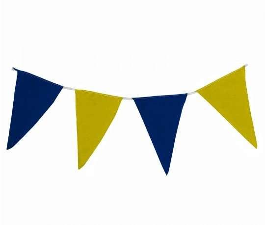Wimpelkette blau-gelb aus Stoff (Meterware)