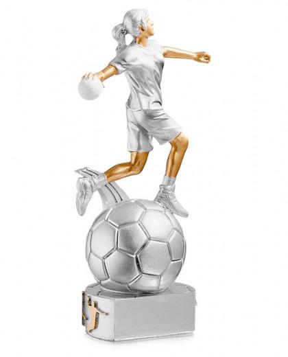 Trophäe Handballerin auf Ball FS72513 silber