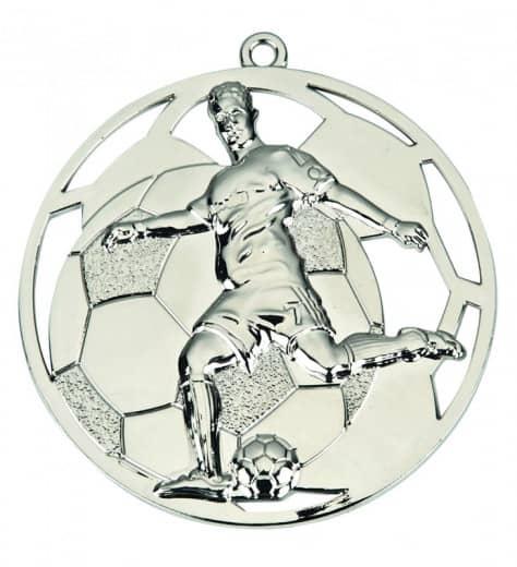 """Fußballmedaille """"Spieler"""" Ø 50 mm inkl. Wunschemblem und Kordel silber"""