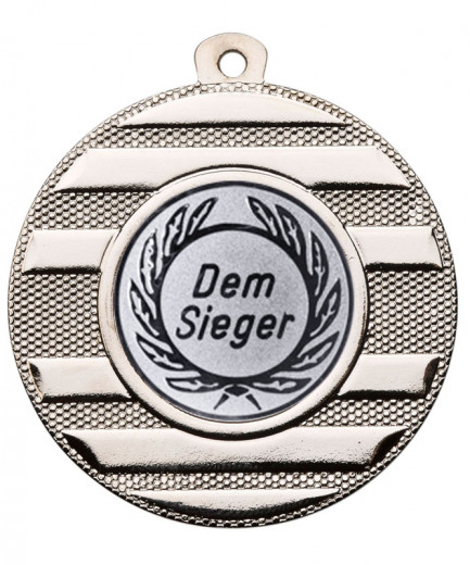 "Medaille ""Keren"" Ø 50 mm inkl. Wunschemblem und Kordel silber"