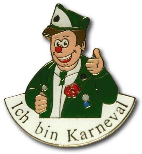 """""""Ich bin Karneval"""" - Anstecker grün-weiß"""