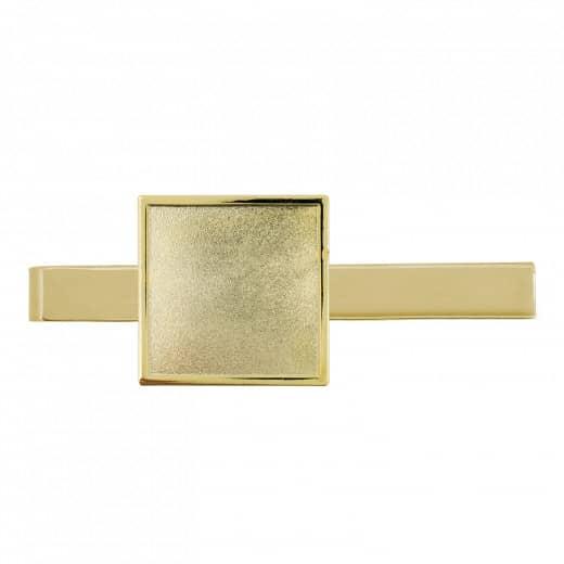 Krawattenklammer mit Auflage Quadratisch gold