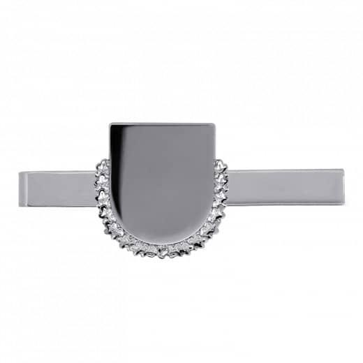 Krawattenklammer mit Wappen mit Kranz silber