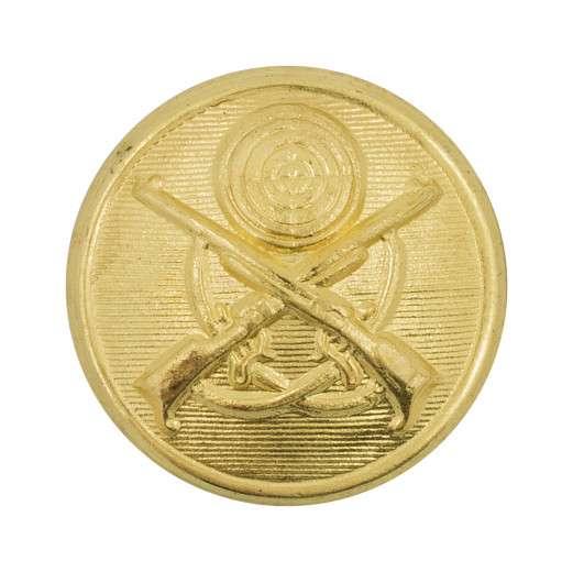 Schützenknopf 22 mm, gekreuzte Gewehre vergoldet
