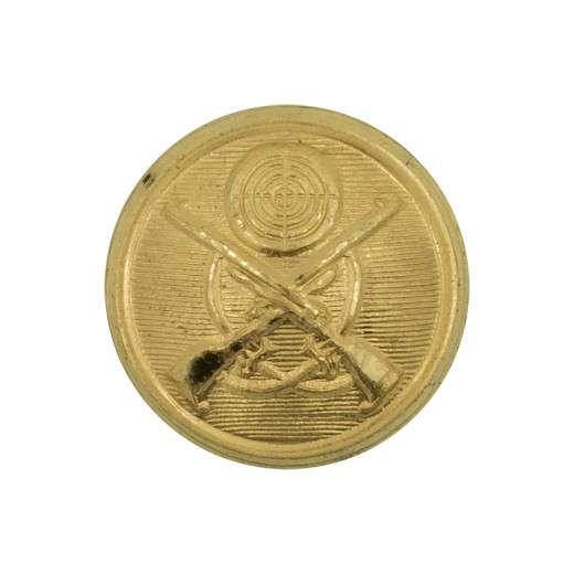 Schützenknopf 17mm, gekreuzte Gewehre vergoldet