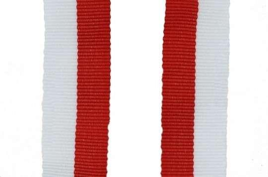 Band mit 2 Ösen rot-weiß