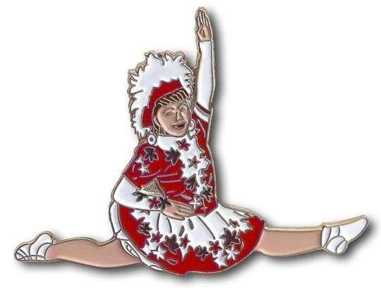 Tanzmariechen Spagat Pin rot-weiß