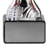 Pokale 6er Serie A293 silber/rot mit Deckel 19 cm