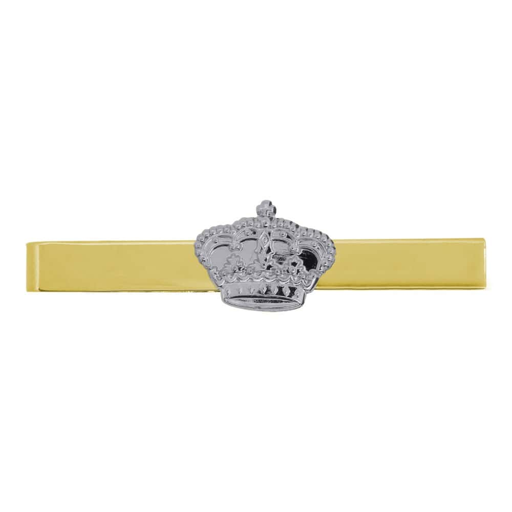 Krawattenklammer vergoldet mit Krone versilbert