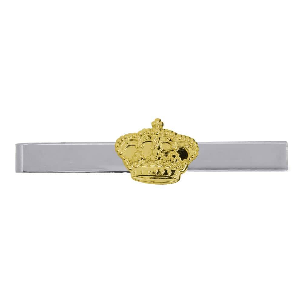 Krawattenklammer versilbert mit Krone vergoldet
