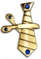 Karnevalsbrosche: Schere trifft Krawatte