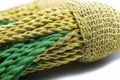 Schärpenquasten mit fester Schleife gold-grün